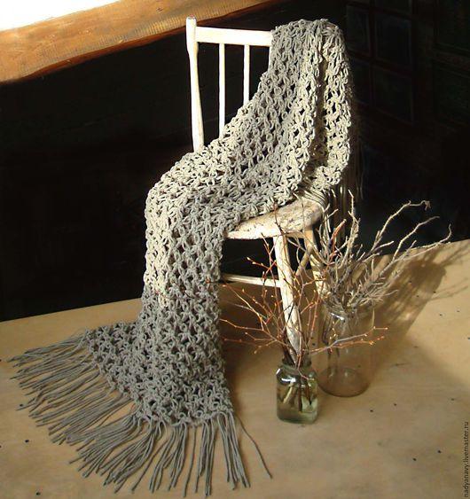 """Текстиль, ковры ручной работы. Ярмарка Мастеров - ручная работа. Купить Вязаный плед из шерстяного шнура """"Туманный лес. Handmade."""