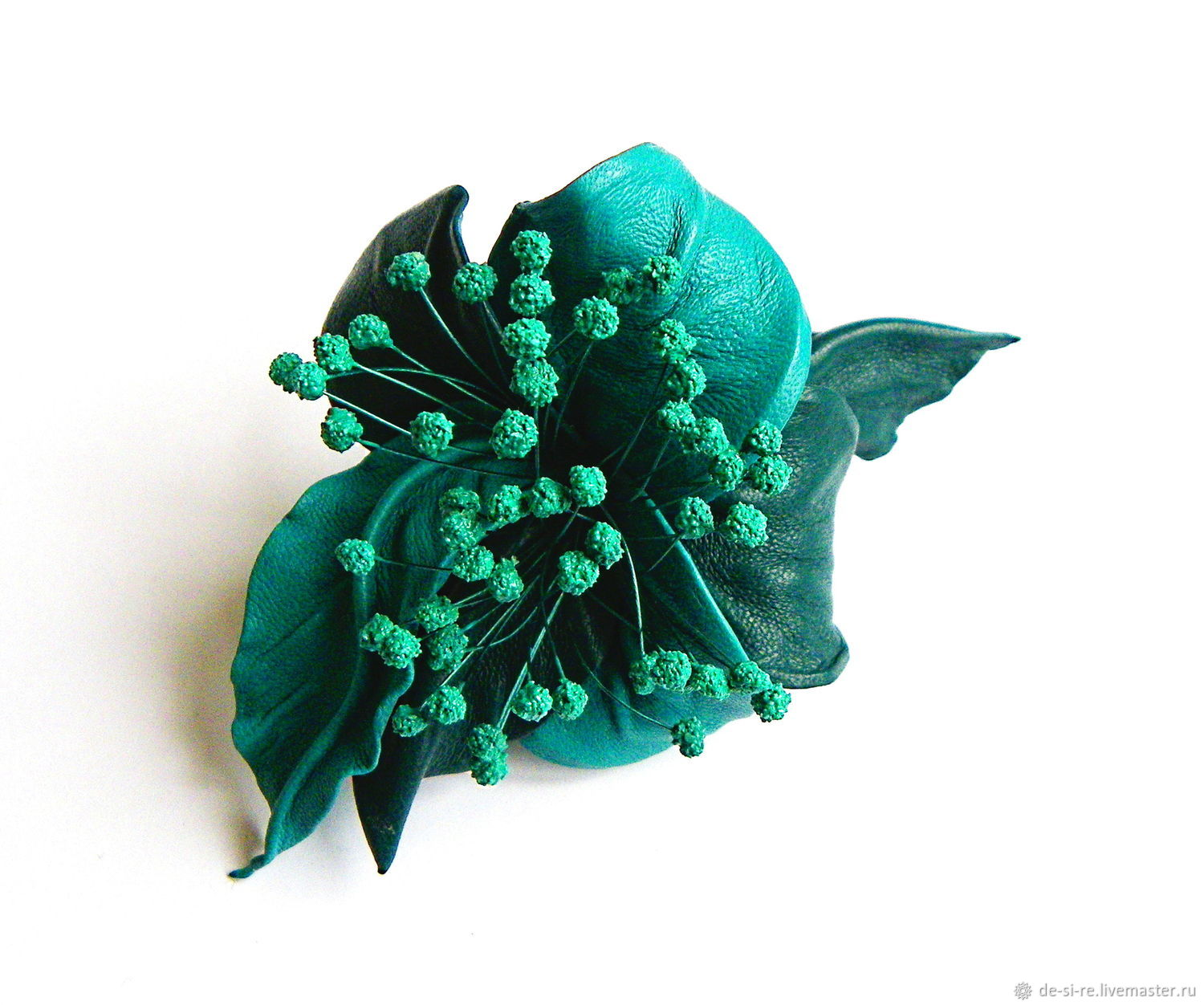 Caribbean leather barrette with stamen turquoise sea wave, Hairpins, Moscow,  Фото №1