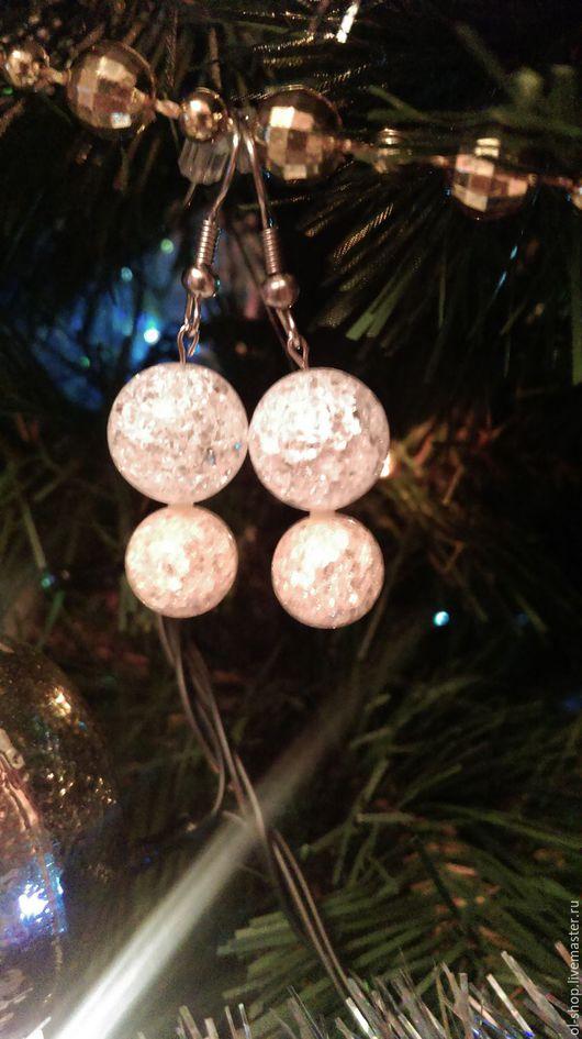 """Серьги ручной работы. Ярмарка Мастеров - ручная работа. Купить Серьги """"Ледяные шарики"""". Handmade. Белый, серьги с камнями"""