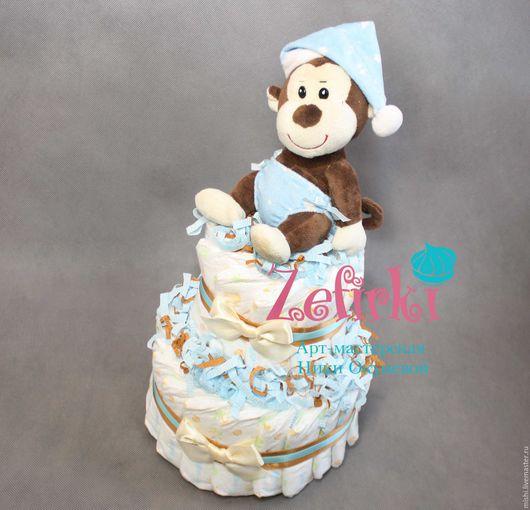 Подарки для новорожденных, ручной работы. Ярмарка Мастеров - ручная работа. Купить Торт из подгузников памперсов подарок для новорожденного. Handmade.