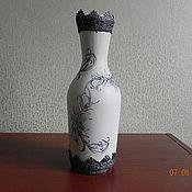 """Посуда ручной работы. Ярмарка Мастеров - ручная работа Декаративная бутыль """"Чёрное и белое"""". Handmade."""