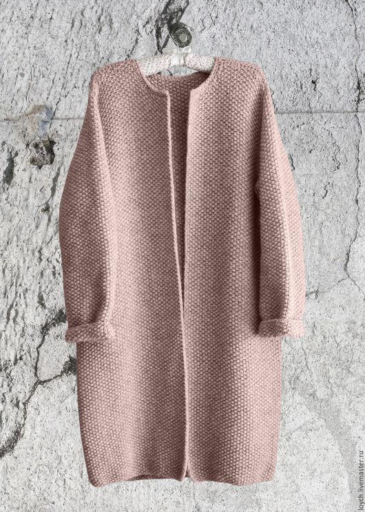 Верхняя одежда ручной работы. Ярмарка Мастеров - ручная работа. Купить Пальто Оверсайз Вязаное Норка (Цвет Пудра). Handmade.