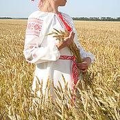 """Русский стиль ручной работы. Ярмарка Мастеров - ручная работа Женская вышитая льняная рубаха-платье """"Репейник"""". Handmade."""