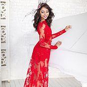 Одежда handmade. Livemaster - original item Red lace dress bare. Handmade.