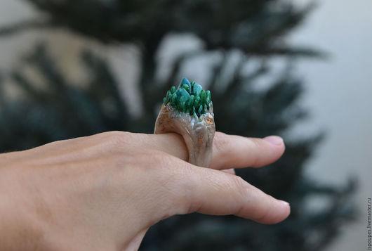 """Кольца ручной работы. Ярмарка Мастеров - ручная работа. Купить """"Вилья..."""". Handmade. Зеленый, кольцо с камнем, полимерная глина"""