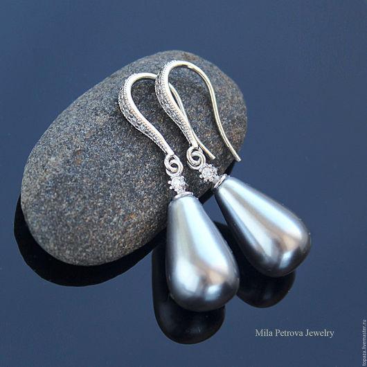 Серебряные серьги с жемчугом майорка_Палермо