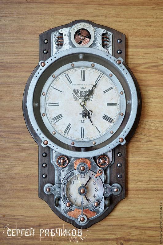 """Часы для дома ручной работы. Ярмарка Мастеров - ручная работа. Купить Часы настенные декоративные в стиле «Стимпанк» """"Steam clock"""". Handmade."""
