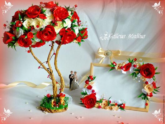Подарки на свадьбу ручной работы. Ярмарка Мастеров - ручная работа. Купить Свадебный набор: топиарий с нестандартной кроной и фоторамка. Handmade.
