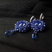 """Сине-фиолетовые серьги с кристаллами Swarovski """"Night city"""""""