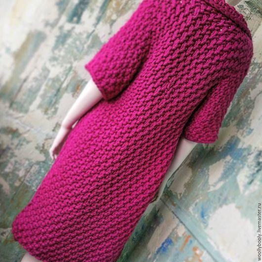 Верхняя одежда ручной работы. Ярмарка Мастеров - ручная работа. Купить Bilberry, вязаное пальто из толстой пряжи. Handmade. Фуксия