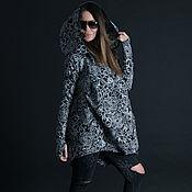 Одежда handmade. Livemaster - original item Stylish cotton tunic, black and white flowers - TU0421PM. Handmade.