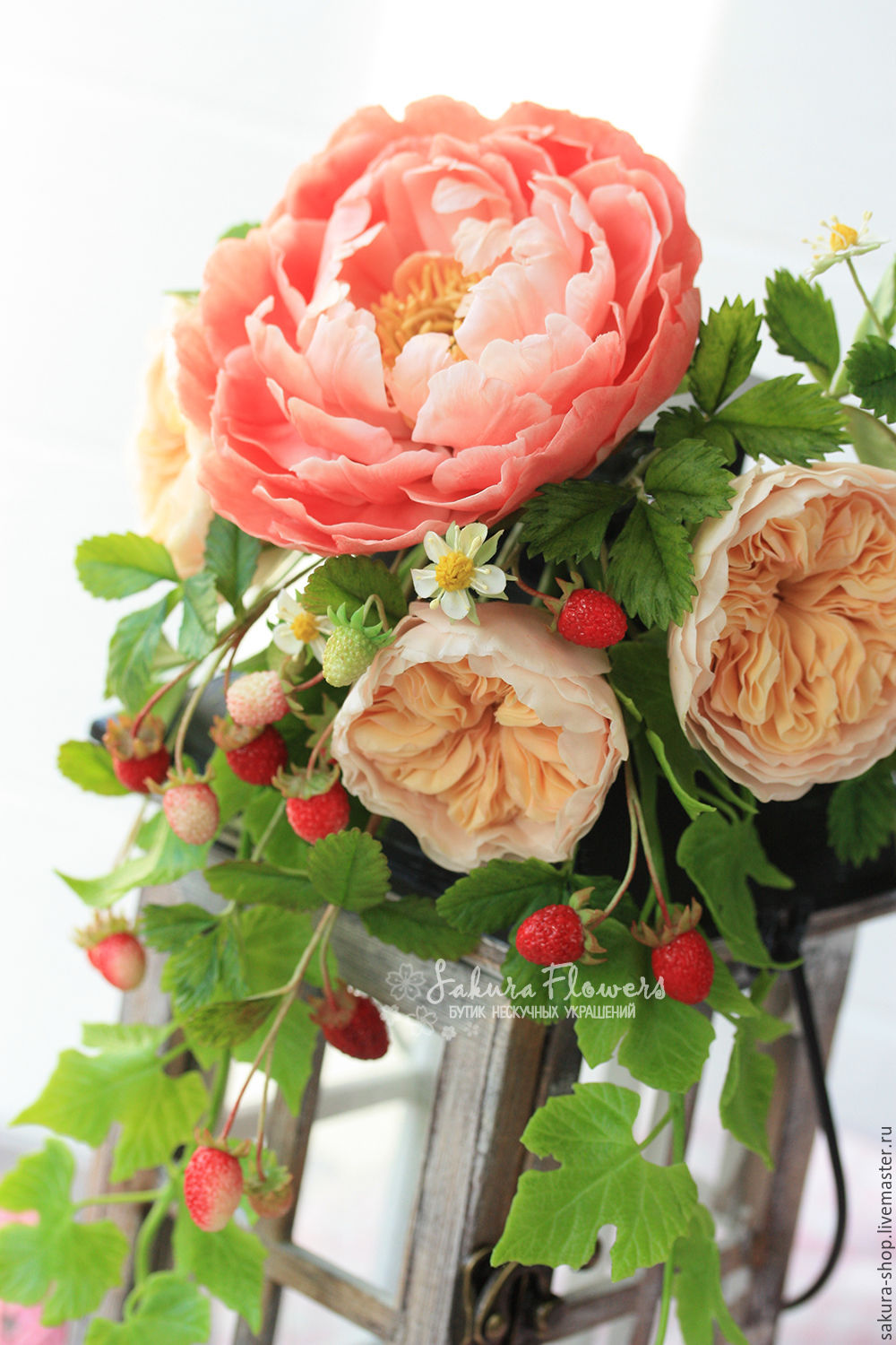 Interior composition bouquet lamp with roses \