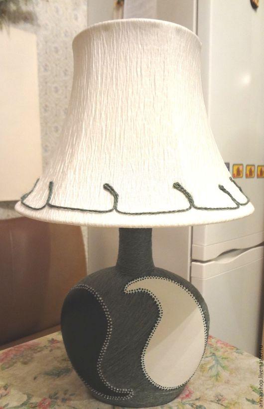 Освещение ручной работы. Ярмарка Мастеров - ручная работа. Купить Лампа-ночник настольная зелено-белая. Handmade. Зеленый, ночник