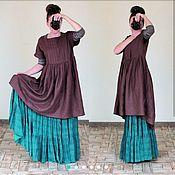 Одежда handmade. Livemaster - original item Linen dress oversize Chocolate. Handmade.