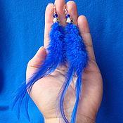 Украшения ручной работы. Ярмарка Мастеров - ручная работа Серьги с синими пёрышками. Handmade.