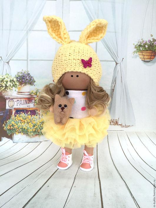 Куклы тыквоголовки ручной работы. Ярмарка Мастеров - ручная работа. Купить Девочка с котенком. Handmade. Лимонный, кукла текстильная, подарок