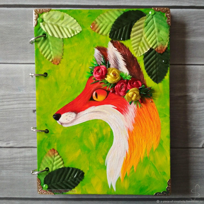 Блокнот (тетрадь) на кольцах с деревянной обложкой: Лиса, Блокноты, Хабаровск,  Фото №1