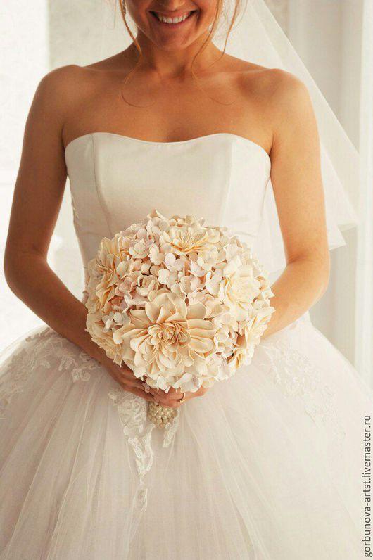 Необычный свадебный букет невесты из полимерной глины. Букет от цветочного кутье Анны Горбуновой.