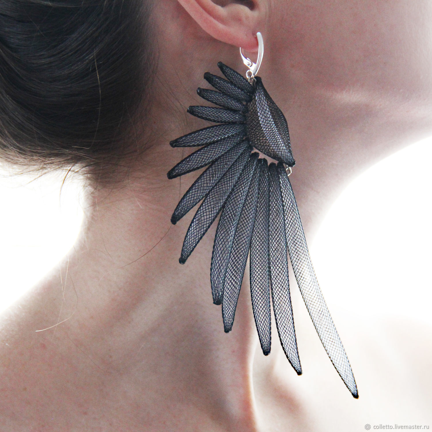 Online Ping On Earrings Handmade Order Wings Colletto Livemaster