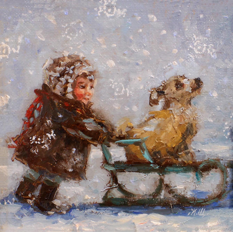 Oil painting 'Winter skating', Pictures, Nizhny Novgorod,  Фото №1