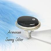 Украшения handmade. Livemaster - original item Black Obsidian and zircon ring in 925 Sterling silver SP0119. Handmade.