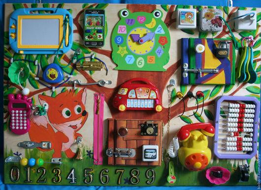 """Развивающие игрушки ручной работы. Ярмарка Мастеров - ручная работа. Купить Развивающая доска (бизиборд) для детей """"Лисёнок"""". Handmade. Разноцветный"""