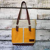 Сумки и аксессуары handmade. Livemaster - original item Linen bag with leather yellow pockets. Handmade.