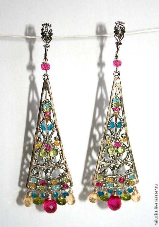 """Серьги ручной работы. Ярмарка Мастеров - ручная работа. Купить Серьги """"A la Gaudi"""" серебро, камни. Handmade."""