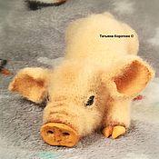Мягкие игрушки ручной работы. Ярмарка Мастеров - ручная работа Жёлтая Хрюшка. Вязаная крючком интерьерная игрушка crocheted toy. Handmade.