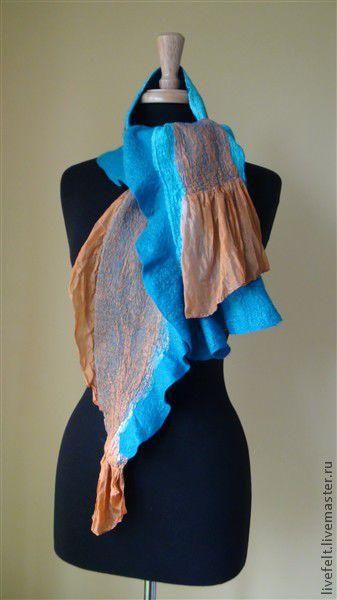 Шарфы и шарфики ручной работы. Ярмарка Мастеров - ручная работа. Купить Валяный  шарф шаль «Бирюзовый» рыжим. Handmade. Бирюзовый