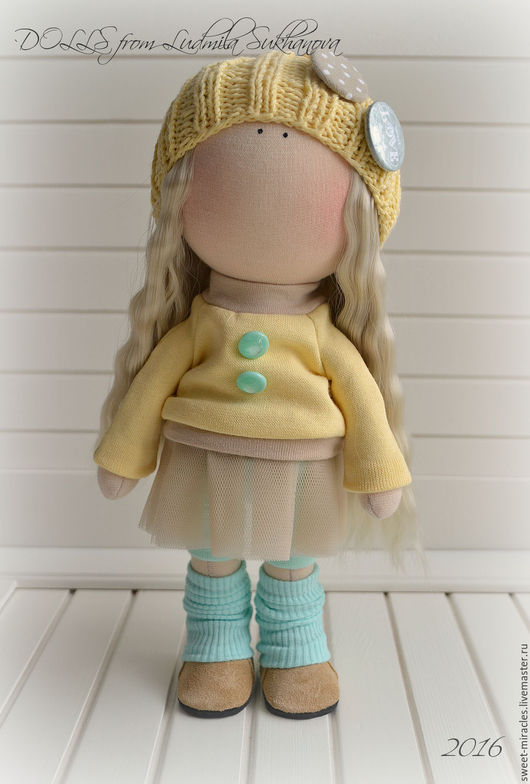 Коллекционные куклы ручной работы. Ярмарка Мастеров - ручная работа. Купить Кукла-малыш. Handmade. Лимонный, кукла текстильная