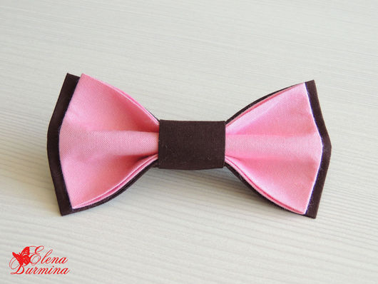 Галстуки, бабочки ручной работы. Ярмарка Мастеров - ручная работа. Купить Бабочка галстук коричнево-розовая, хлопок. Handmade.
