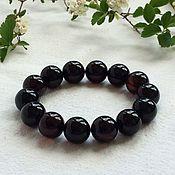 Bead bracelet handmade. Livemaster - original item Bracelet from Baltic amber, color is cherry, 14.7mm. Handmade.