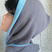 Аксессуары handmade. Livemaster - original item Hoods: Hood with a double scarf made of cotton gray-blue. Handmade.