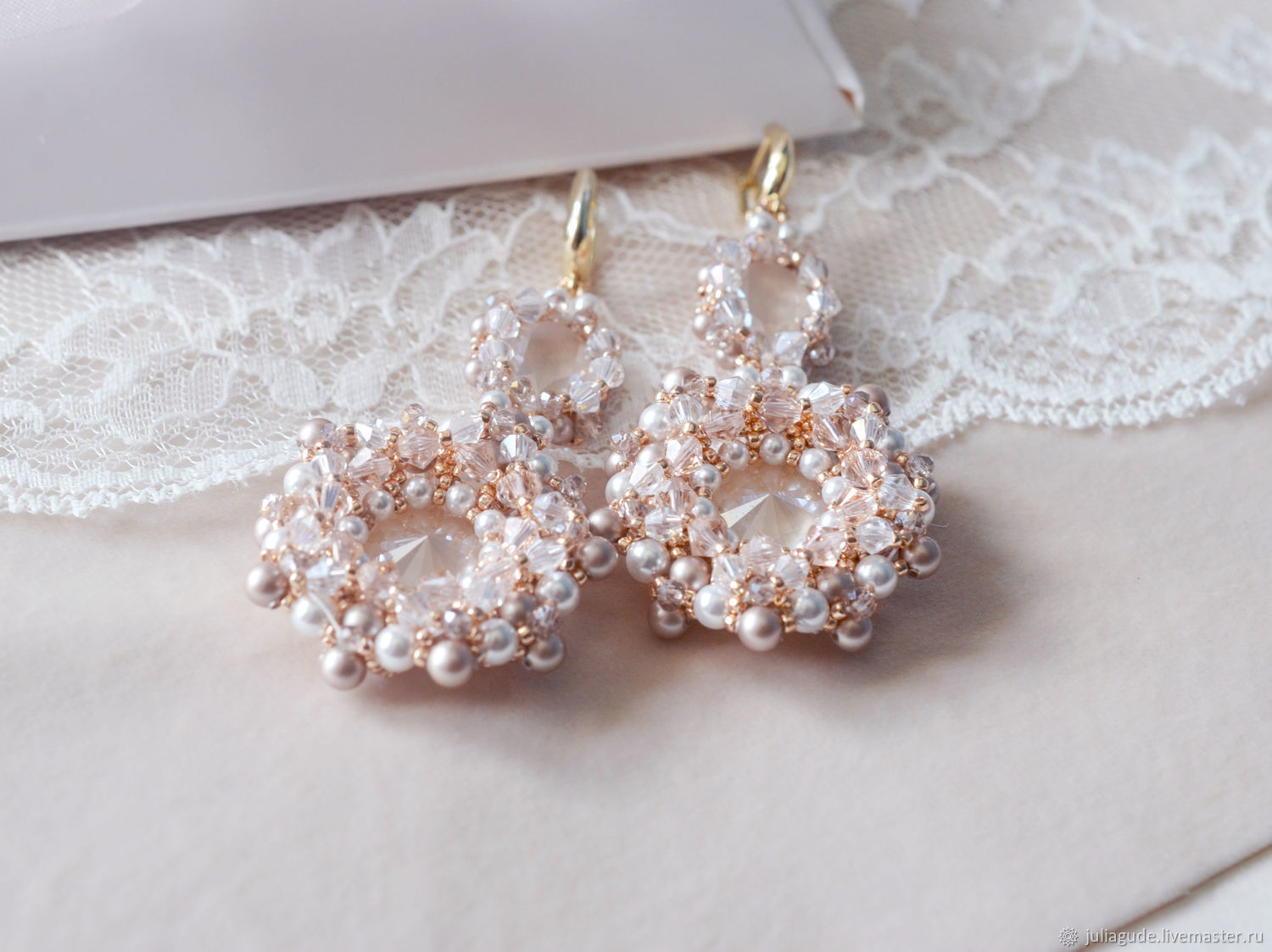 Wedding earrings for bride from swarovski elements shop online on wedding jewelry handmade livemaster handmade buy wedding earrings for bride from swarovski elements junglespirit Image collections