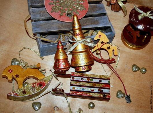 Новый год 2017 ручной работы. Ярмарка Мастеров - ручная работа. Купить Звездные лошадки. Набор игрушек в ящичке. Handmade.