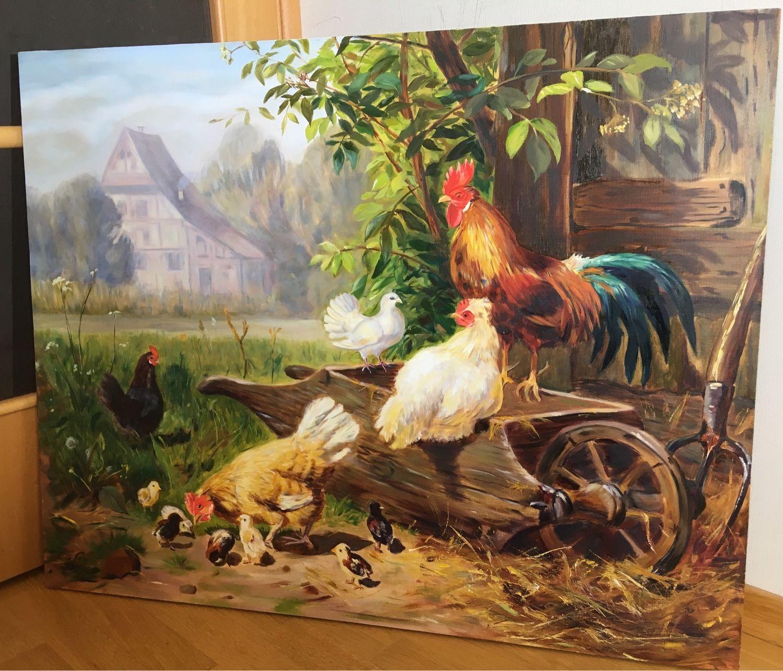 Картина маслом «птичий дворик», холст 100 x 80 см, Картины, Санкт-Петербург,  Фото №1