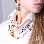 Украшения handmade. Livemaster - original item Necklace-transformer made of silk and rose quartz. Handmade.
