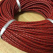 Шнуры ручной работы. Ярмарка Мастеров - ручная работа Шнур кожаный плетёный ,3 мм, красный. Handmade.