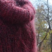 Одежда handmade. Livemaster - original item Tunic dress knitted Winter fun handmade. Burgundy.. Handmade.