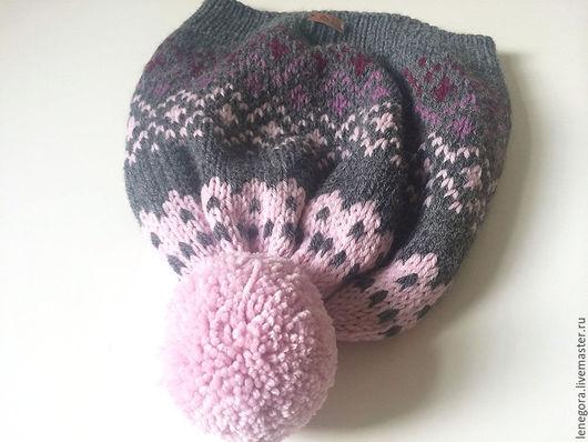 Шапки ручной работы. Ярмарка Мастеров - ручная работа. Купить Шапка Серая с розовым градиентом. Handmade. Темно-серый, шапка