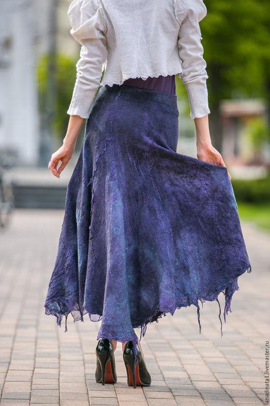"""Юбки ручной работы. Ярмарка Мастеров - ручная работа. Купить Двухсторонняя юбка """"Глубокое синее море"""", нунофелтинг, валяние, одежда. Handmade."""