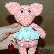 Мягкие игрушки ручной работы. Ярмарка Мастеров - ручная работа Поросенок, свинка Балерина, вязаная мягкая игрушка, амигуруми. Handmade.