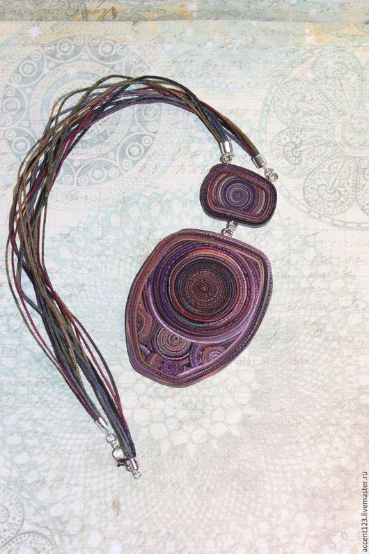 Кулоны, подвески ручной работы. Ярмарка Мастеров - ручная работа. Купить Кулон на шнурах. Handmade. Фиолетовый, кулон из полимерной глины