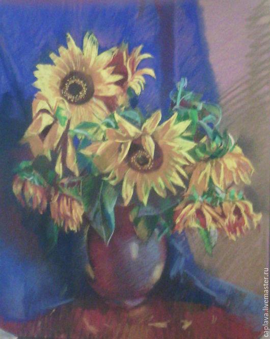 Картины цветов ручной работы. Ярмарка Мастеров - ручная работа. Купить подсолнухи. Handmade. Комбинированный, цветы, графика, для дома и интерьера