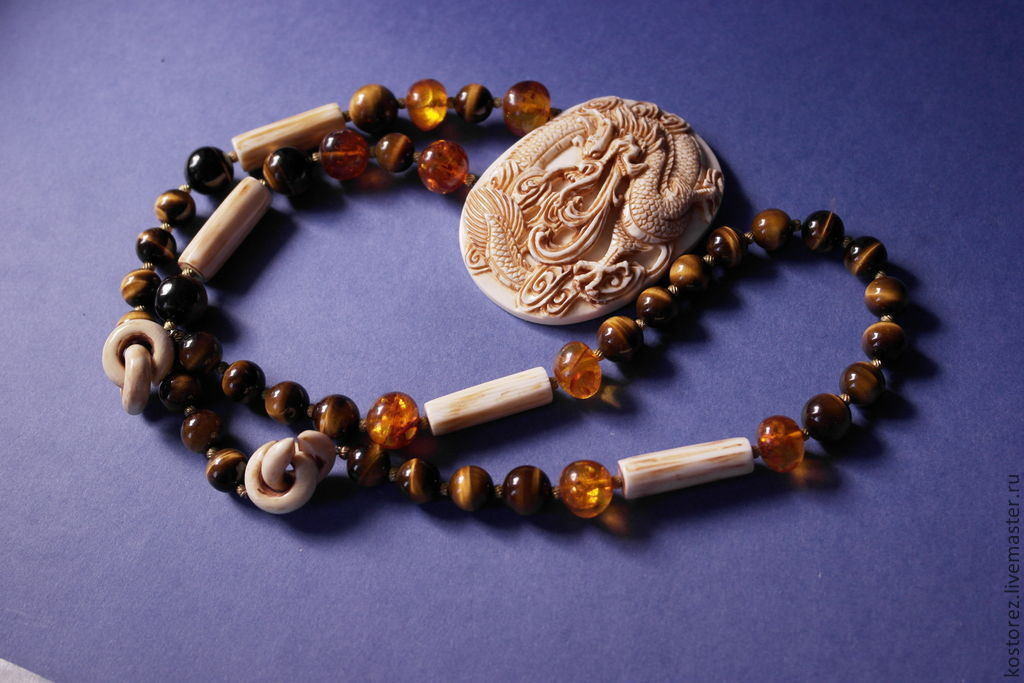 Massive necklace with the Dragon. ivory, tiger's eye, amber, Vintage necklace, Nakhabino,  Фото №1