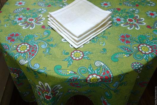 """Текстиль, ковры ручной работы. Ярмарка Мастеров - ручная работа. Купить Скатерть """"Узоры"""" с салфетками. Handmade. Скатерть, льняные ткани"""