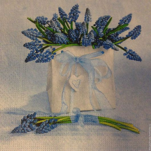 Салфетка для декупажа - Сине-голубые мотивы, ваза с полевыми цветами Декупажная радость