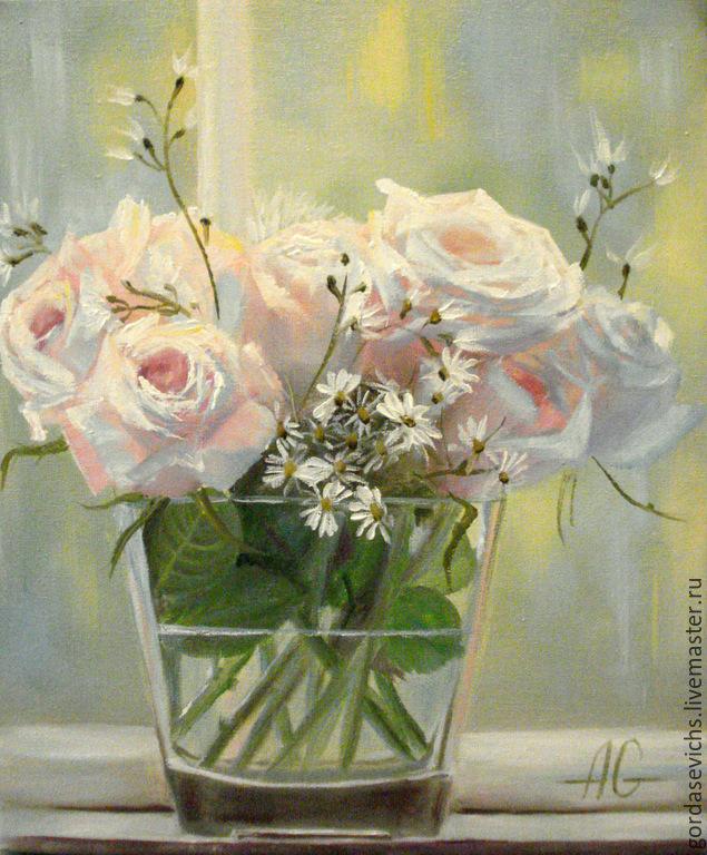 Картина маслом розы