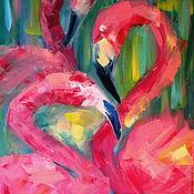 Картины и панно ручной работы. Ярмарка Мастеров - ручная работа Фламинго. Картина маслом. 45х35. Handmade.